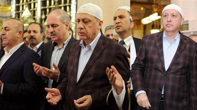 Erdoğan takkesini giyip Medine'de namaz kıldı