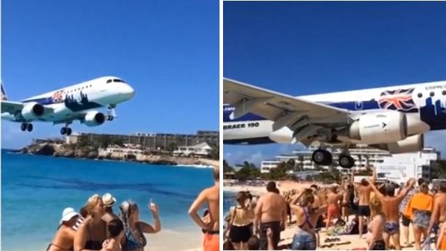 Dev uçak plajda güneşlenenleri teğet geçti