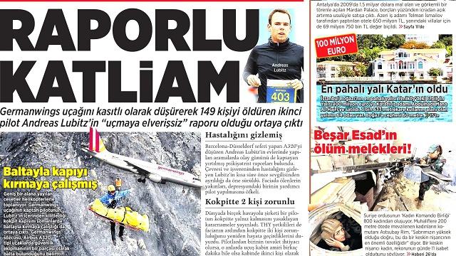 28 Mart 2015 gazete manşetleri
