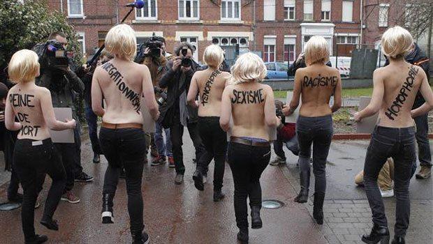 Femen'den Le Pen'e çıplak protesto
