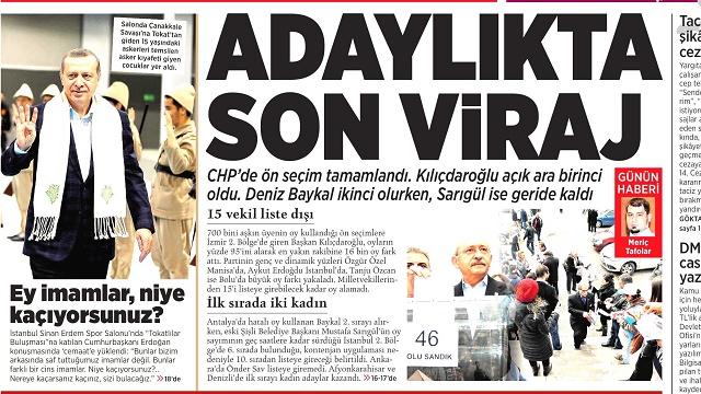 30 Mart 2015 gazete manşetleri