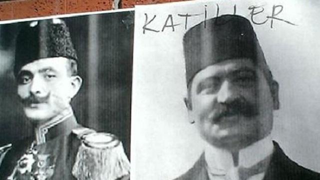 Hrant Dink'in üzerine Talat Paşa fotoğrafı astılar!