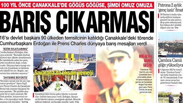 25 Nisan 2015 gazete manşetleri