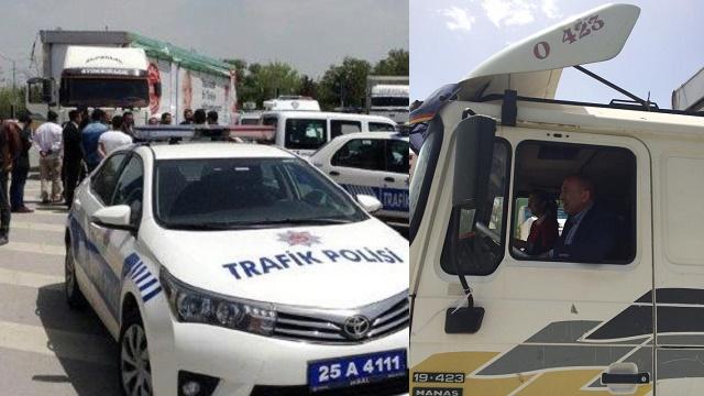 Polis CHP TIR'ını durdurdu, Gürsel Tekin direksiyona geçti