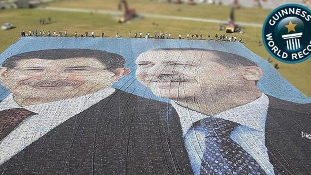 Erdoğan ve Davutoğlu'nun dev posteri rekorlar kitabına girdi!