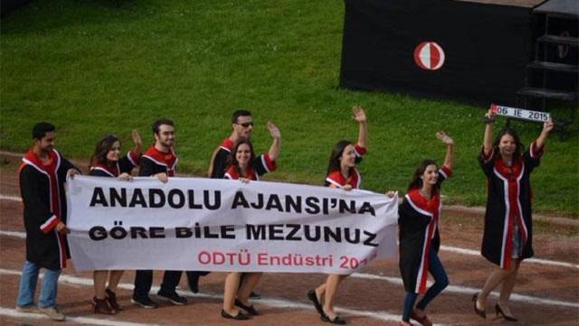 ODTÜ mezuniyetinde Anadolu Ajansı göndermesi