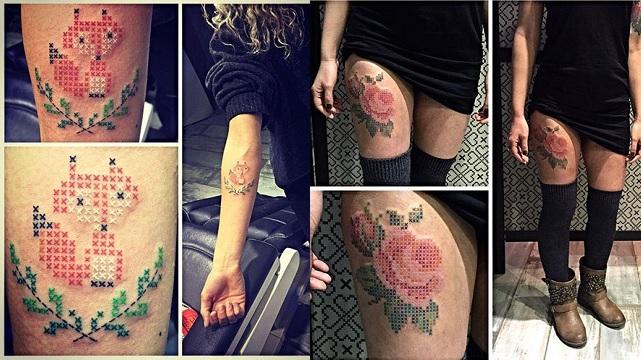 Kanaviçe dövmelerle fenomen oldu