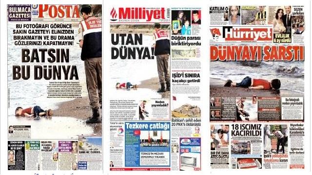 Gazeteler kıyıya vuran bebeği nasıl gördü?