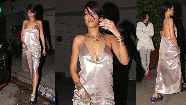 Rihanna yine gecelikle sokakta